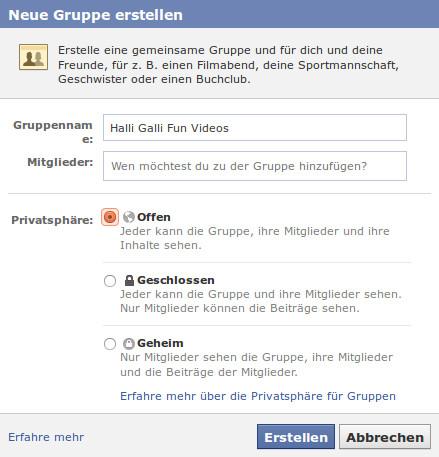 Facebook-Gruppe erstellen