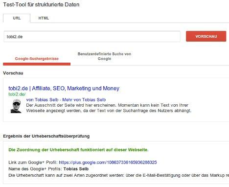 Test-Tool für die Google Authorship
