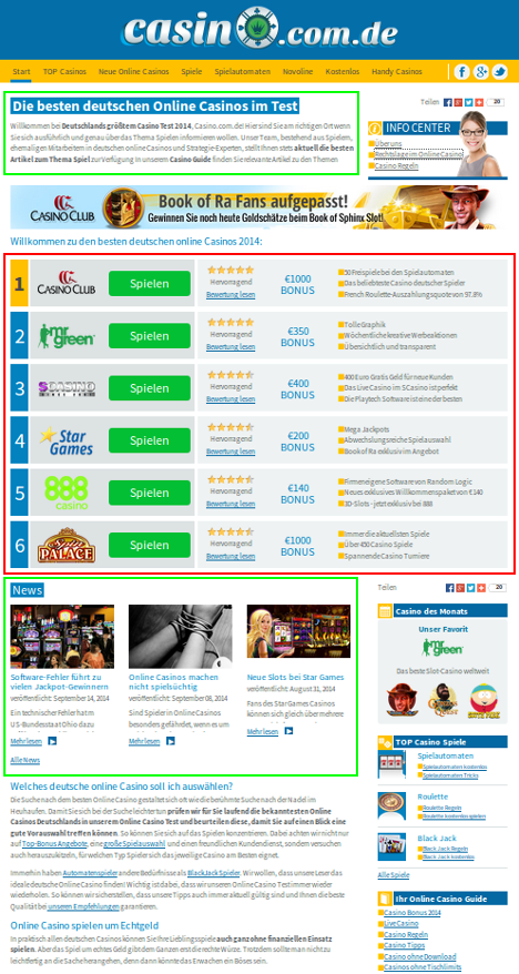 Layout und Inhaltsverteilung von casino.com.de