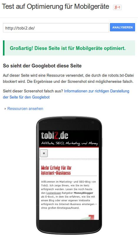 Testergebnis einer mobil optimierten Webseite