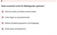 Testergebnis einer nicht mobil optimierten Webseite
