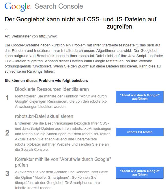 Google Search Console: CSS- und JS-Problem?