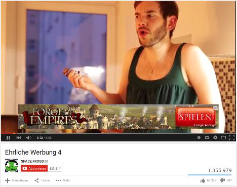 Werbebanner in einem Youtube-Video